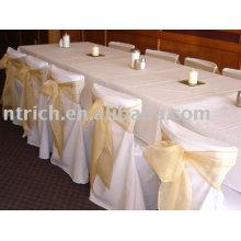 Ceintures organza, chaise enveloppements, liens de couverture de chaise, housses polyester