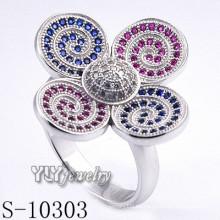 925 de plata esterlina Zirconia mujeres flor anillo (s-10303)