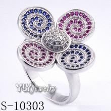 925 Sterling Silver Zirconia Women Flower Ring (S-10303)