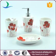 Wholesale Red Flower Design Ceramic Bathroom Accessories decoration