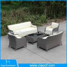 Muebles de cuero de la PU al aire libre del diseño especial con el PE mimbre