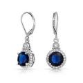 Blue Round CZ 925 Silber baumeln Ohrring Schmuck