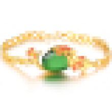 Дамы Винтаж позолоченный 18k золото Браслет Агат камень Павлин Браслет