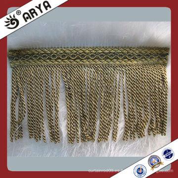 Venta al por mayor franjas de lino largo de poliéster para cortina decorativa, franja de sofá, Franja de alfombra