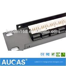 """Panneau de connexion vocale téléphonique RJ11 à 25 ports / 1U 19 """"110 bloc de câblage type cat3 / cat5e cat6 Gestion des câbles RJ45"""