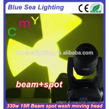 Efeito gobo 15r cabeça de movimento feixe spot 330W CMY