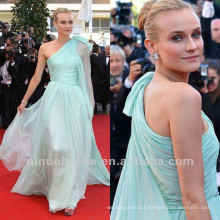 Diane Kruger One Shoulder Sheath Pleated Light Sky Blue Celebrity Dress Prom Gown