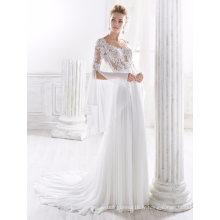 Manches longues en mousseline de soie robe de mariée en dentelle robe de mariée