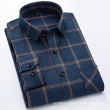 Camisa masculina de flanela de manga comprida