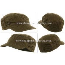 Distressed washed cotton green fitted flat-top army cap