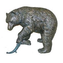 Urso de bronze com estátua de peixe BVLA-024R