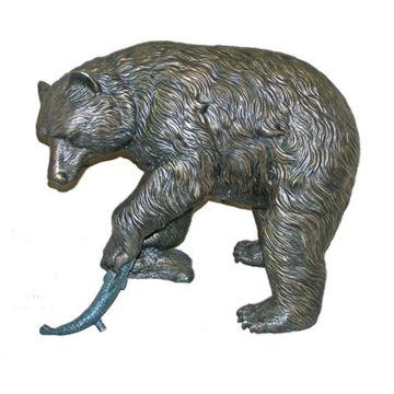Ours en bronze avec poisson Statue BVLA-024R