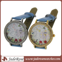 Ladies Leather Wrist Watches PC21 Movement Diamonds on Dial Marks