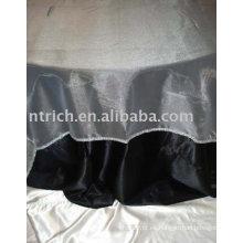 Paño de tabla del hotel, cubierta de la mesa redonda, mantelería de tela de raso negro, organza recubrimiento