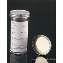 Registrados pela FDA e CE aprovados recipientes de amostra de 150 ml com tampão de metal e etiqueta impressa