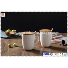 Cerámica taza de café de porcelana blanca con tapa y cuchara