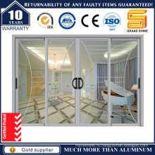 Двойное остекление Внутренние алюминиевые раздвижные стеклянные двери