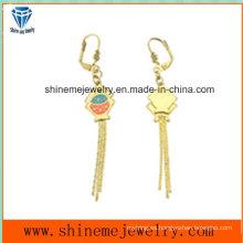 Joyería de la manera oro plateado pendiente de la gota para el oído del acero inoxidable (ERS7003)