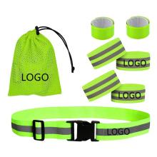 High Visibility Reflective Adjustable Belt Set Leg Arm Wrist Ankle Elastic Band Custom Logo Cheap