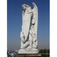 décoration extérieure de jardin sculpture sur pierre marbre saint michael statue