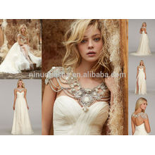 Hot Sale Chiffon A-Line Wedding Dress With High Side Slit Accent 2014 Crystal Neckline Cap Sleeve Pleats Long Bridal Gown NB0672