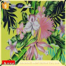 Tecido com estampa floral de viscose de rayon com estampa natural