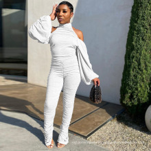 2021 Spring New Commodity Solid Color Lantern Long Sleeve Bodycon Ruched Strapless Jumpsuit for Women