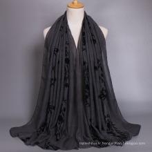 Chaude sellling femmes maxi floral coton hijab accessoires écharpe châle dubai Écharpe musulmane brodée