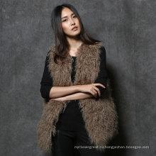 Женщины Монгольский мех Жилет Настоящий мех Gilet для девочек
