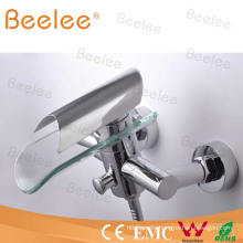 Wall Mount Waterfall Bathroom Shower Faucet Bathtub Faucet with Glass Disk