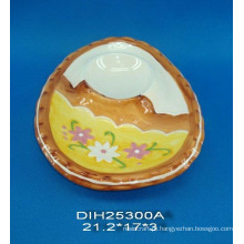 Suporte de ovo de cerâmica pintado à mão para decoração da Páscoa