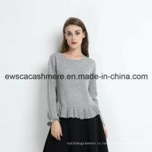 Красна девица сплошной Цвет чистый кашемир свитер с оборками