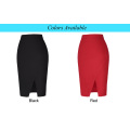 Kate Kasin Women's High Waist High Stretchy Irregular Hem Hips-Wrapped Summer Short Red Skirt KK000287-2