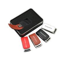 Memorias USB promocionales de cuero marrón