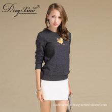 Custom Embroidery Logo Merino Wolle stricken Pullover Designs für Frauen