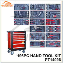 Kit de herramientas de mano Powertec 196PC con gabinete de metal (PT14096)