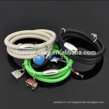 Venta al por mayor joyas de múltiples capas pulsera de cuero genuino con cierre de acero inoxidable SW-LB010