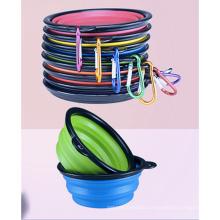 Zusammenklappbare Hundenapf Silikon faltbare erweiterbare Schale Dish für Haustier Katzenfutter Wasser Fütterung Portable Travel Bowl