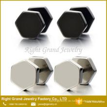 Angepasste Mode chirurgische Edelstahl Hexagon Silber schwarz gefälschte Plug Ohrringe