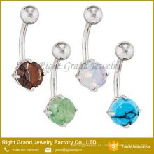 Joyería redonda Piercing del anillo del ombligo de la piedra semipreciosa redonda del acero quirúrgico
