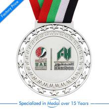 Medalha de basquetebol personalizada de alta qualidade 3D UAE com o selo da liga do zinco