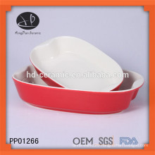 red glazed ceramic bakeware plate, ceramic baking tray with color