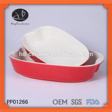 Placa de bakeware cerâmica vidrada vermelha, bandeja de cozimento cerâmica com cor