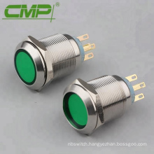 22mm Diameter Center Green LED Indicator Push Button Switch