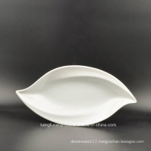 Leaf Shape White Color Glazed Porcelain Plate