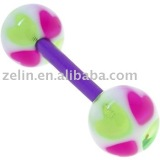 Flexible acrylic heart tongue ring body piercing jewelry