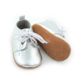 Hot Sale Kulit Tanah Silver Baby Shoes Oxford