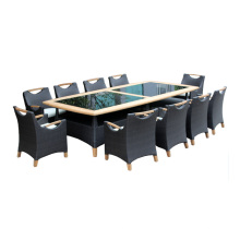 Conjunto de mesa de jantar de móveis de madeira e Rattan