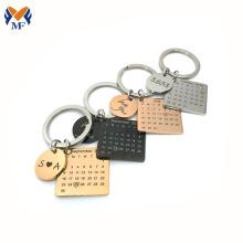 Metal calendar engraved keychain for girlfriend