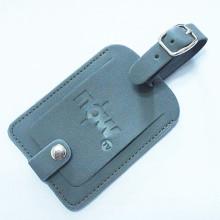 Étiquette de bagage de nom en cuir PU personnalisée avec logo de timbre (B1002)
